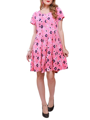 3c7499582 Buy Pink Printed Jersey Fit   Flare Dress for Women from Qurvii for ...