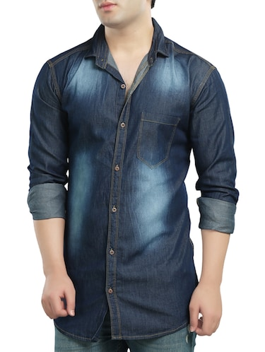 dark blue denim casual shirt - 14121593 - Standard Image - 1