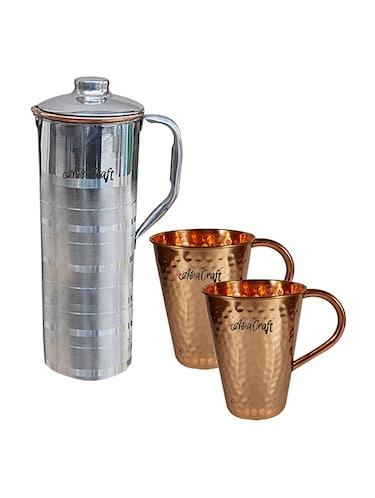 dd53b49bda8 Steel Copper Luxury Fridge Jug-cum-Bottle   2 Copper Hammered Moscow Mule  Mug By AsiaCraft