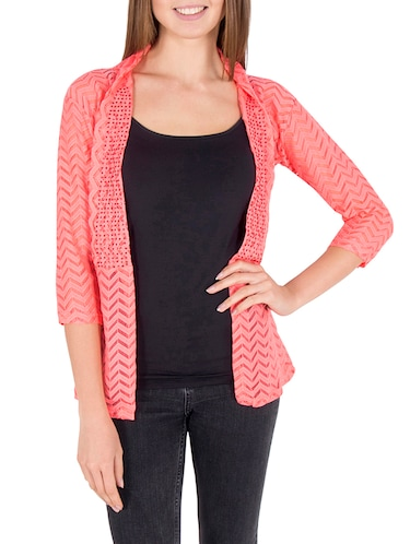 e1a6b7c9ac8 Buy Peach Net Regular Shrug for Women from Sweekash for ₹528 at 47 ...