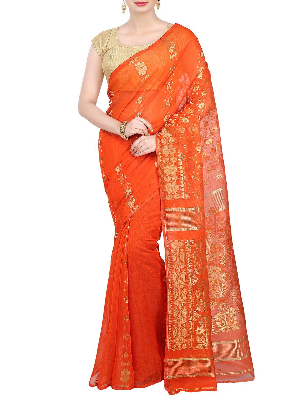 cb573d979508c Buy Orange Jamdani Cotton Silk Saree for Women from Drapez for ...