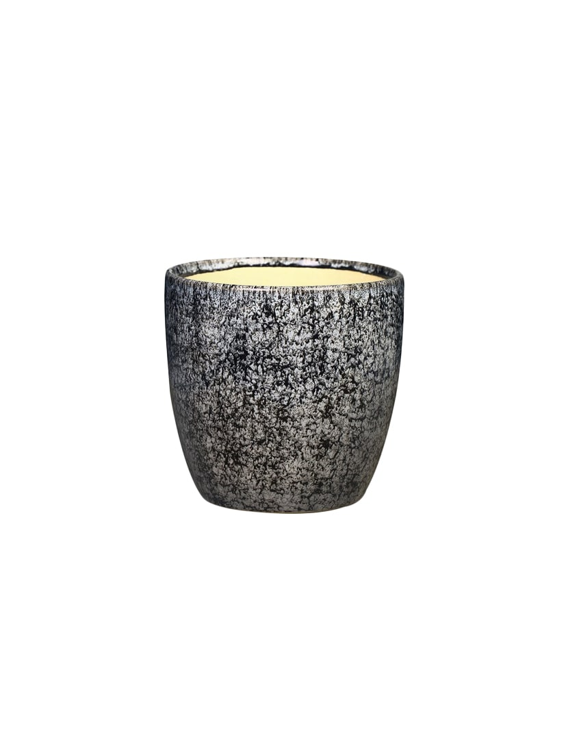 Planter Vase Ceramic/Stoneware in Brown White Crackle (1 Pc) Handmade By  Caffeine