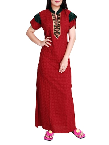 red printed cotton gown - 14182146 - Standard Image - 1