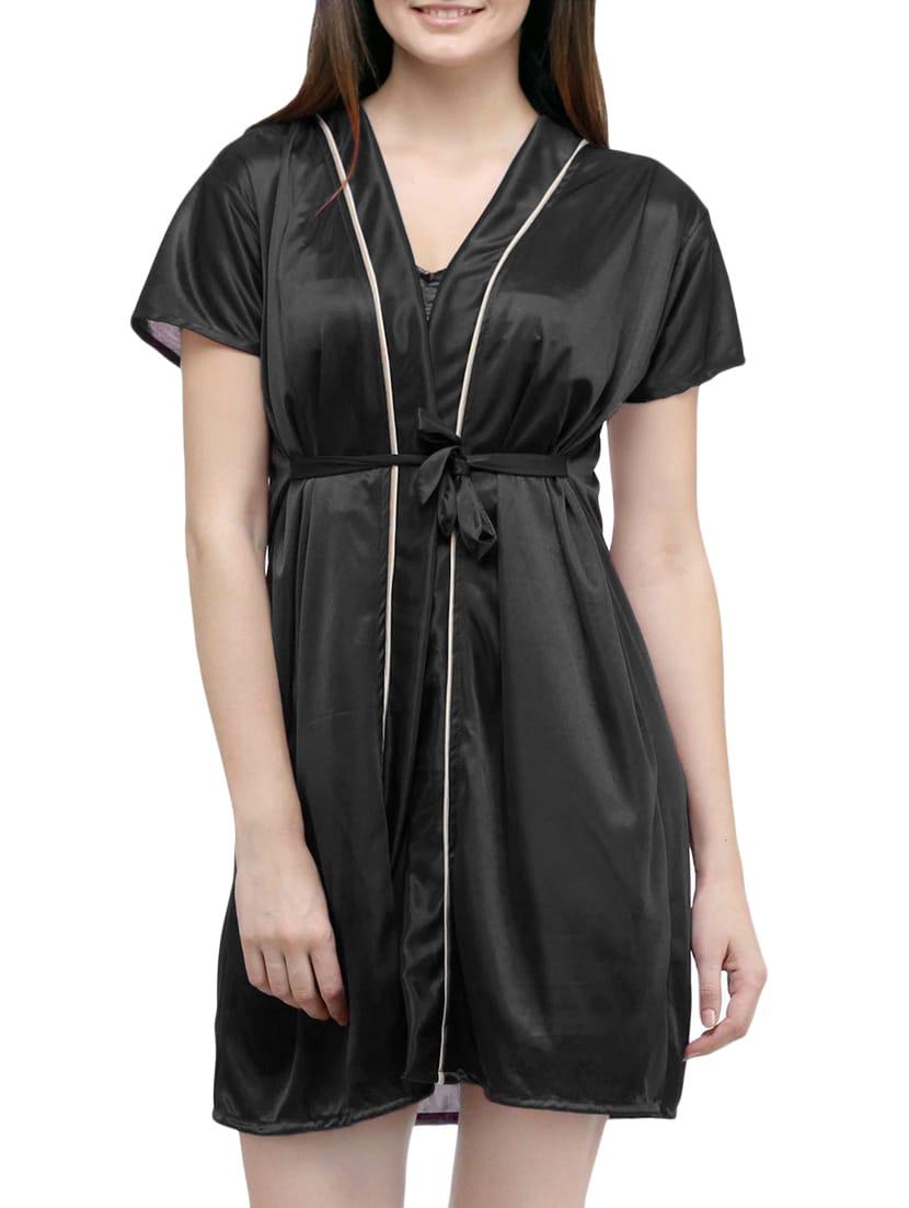0af0d284f7 Buy Black Satin Sleepwear Robe by You Forever - Online shopping for ...
