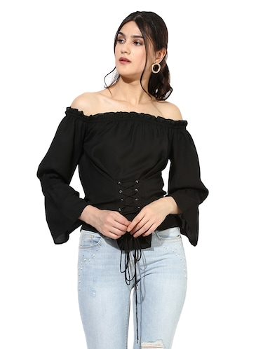 e325d95150 Buy Solid Black Off Shoulder Corset Top by Besiva - Online shopping ...