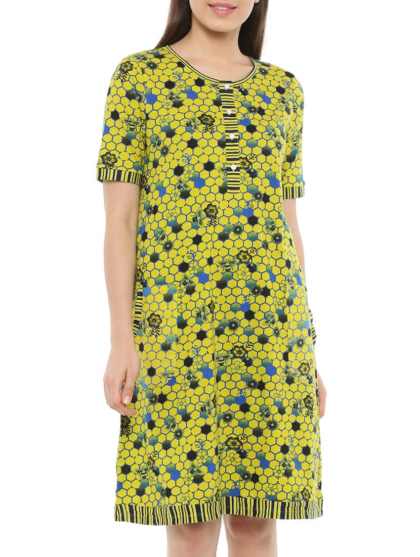 Buy Multicolored Printed Cotton Nighty by Mystere Paris - Online shopping  for Sleepshirts   Nighties in India  346f2c393