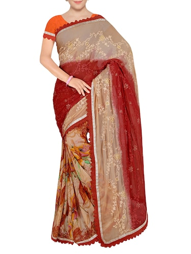 red chiffon embroidered saree with blouse - 14234833 - Standard Image - 1