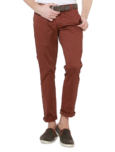 red cotton chinos casual trousers - 14237987 - Standard Image - 1