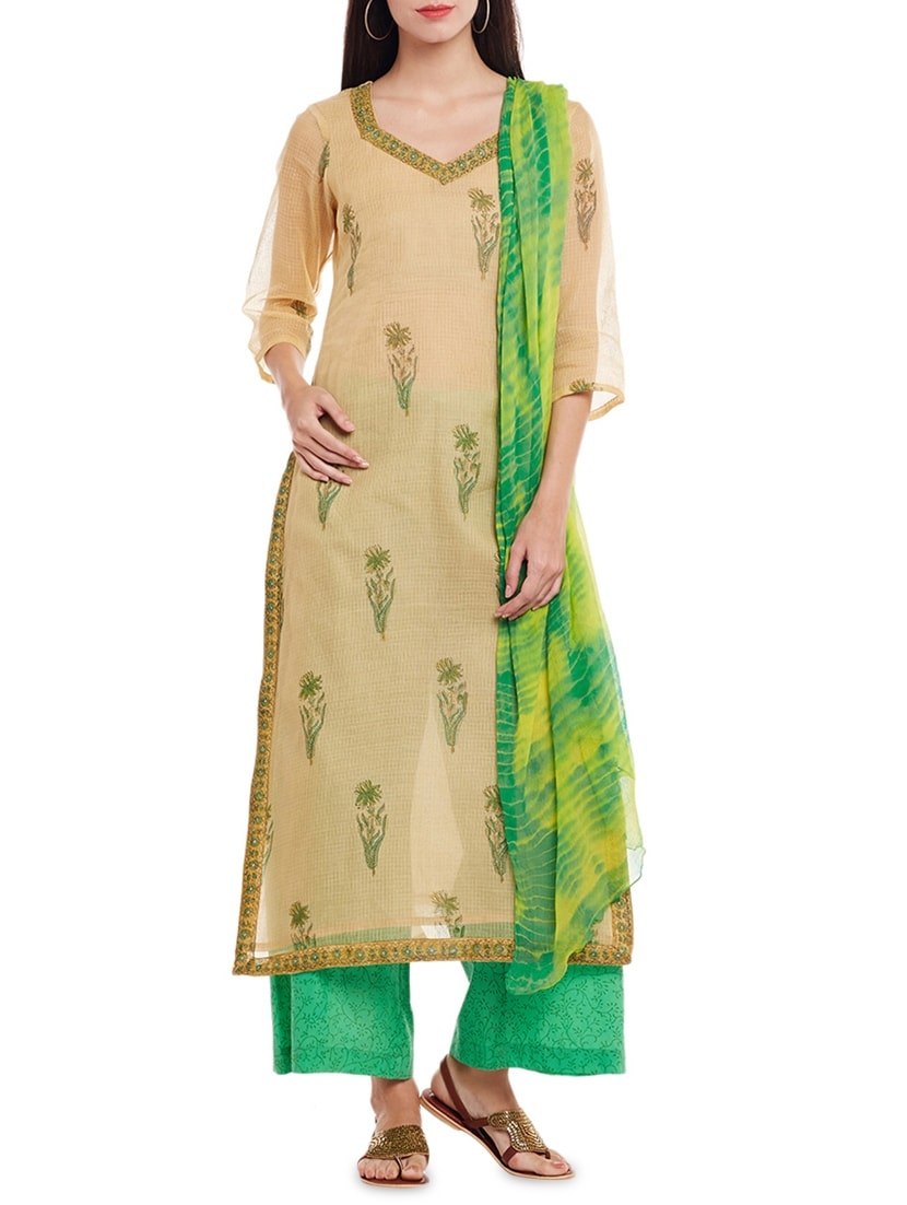 730befacb4 ... Pure kota hand block printed unstitched suit - 14242479 - Zoom Image - 1