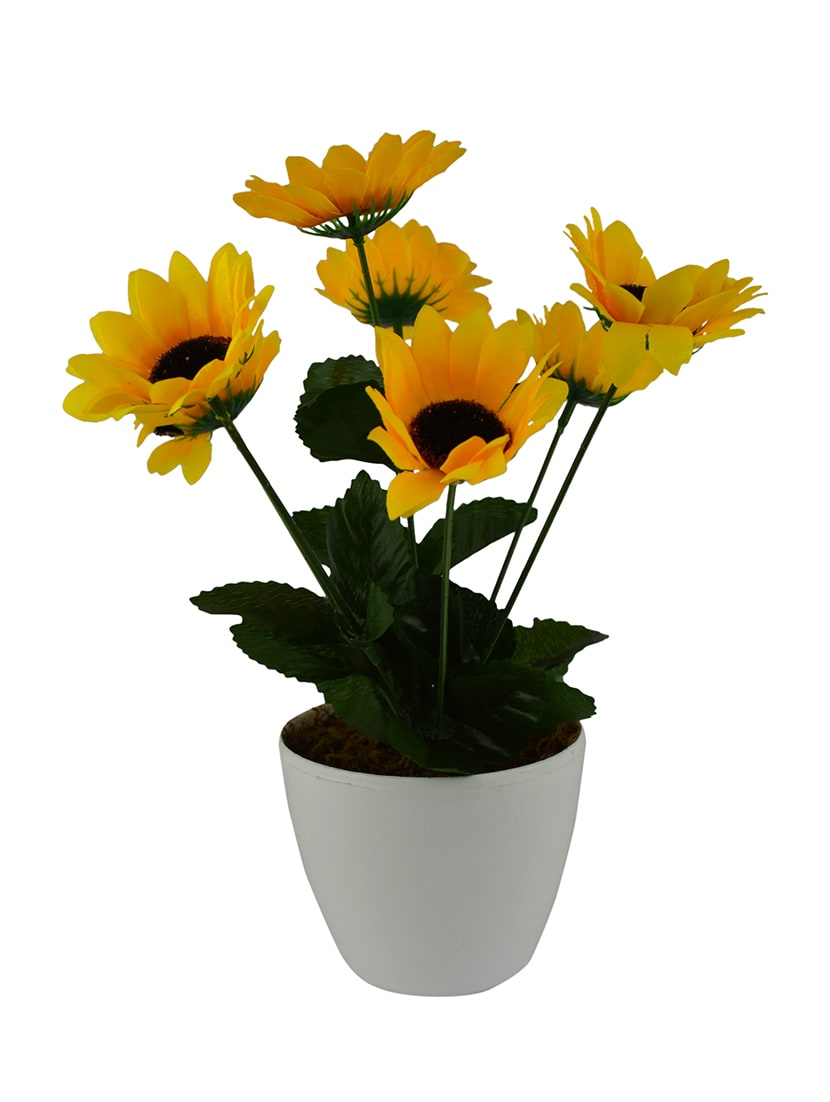 Buy artificial flower sunflower with round white pot by the fancy artificial flower sunflower with round white pot 14246376 zoom image 1 mightylinksfo