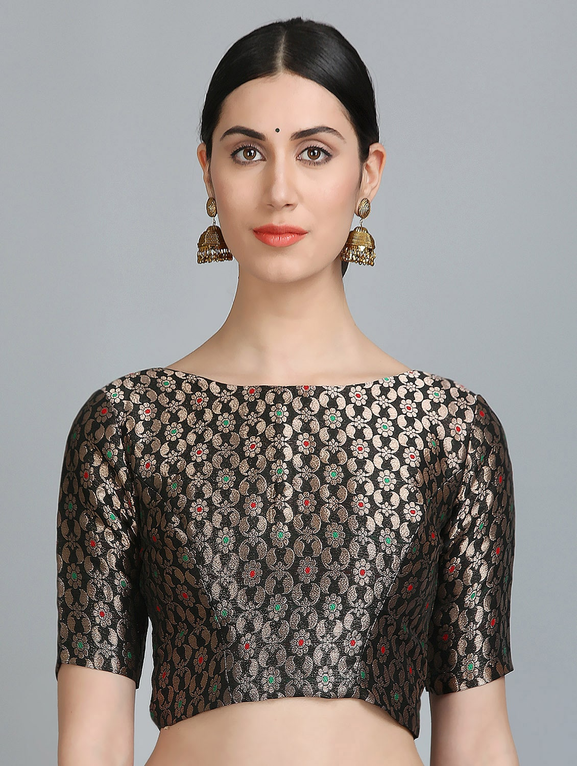 7f6c5dc209ebb5 ... KAANCHIE NANGGIA black brocade stitched blouse - 14251091 - Zoom Image  - 1