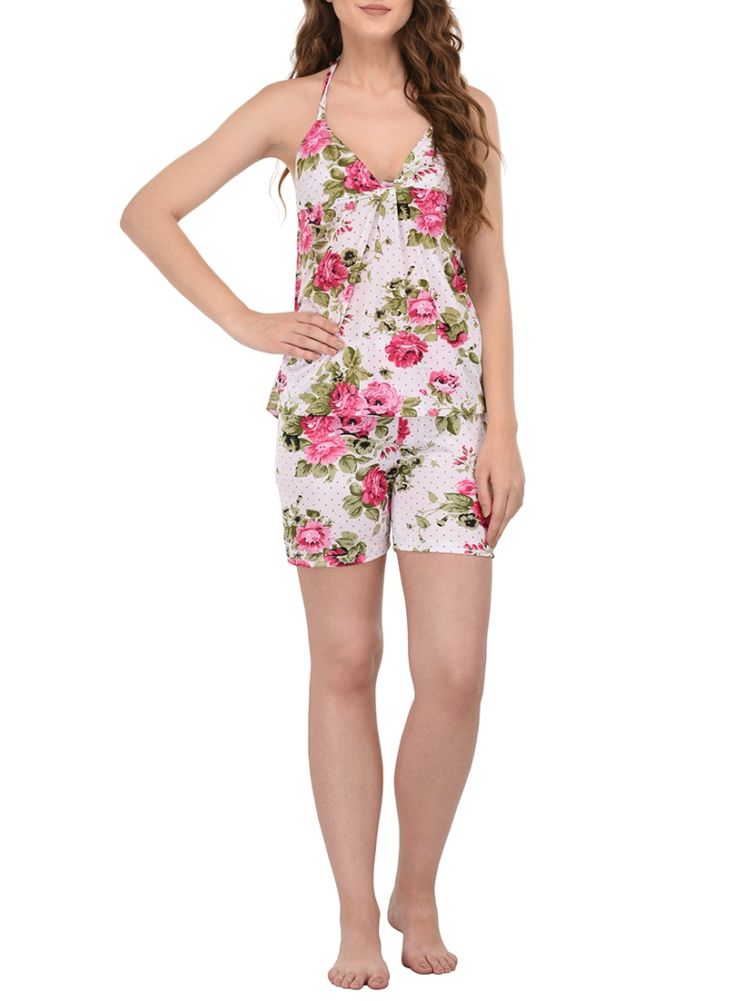604efd447e ... multicolored floral printed satin shorts set - 14254190 - Zoom Image - 1