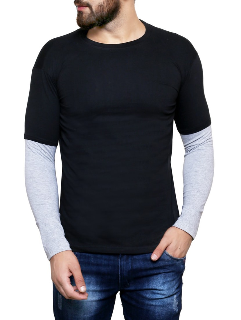 Buy Black Cotton Color Block T Shirt By Nagru Online Shopping For