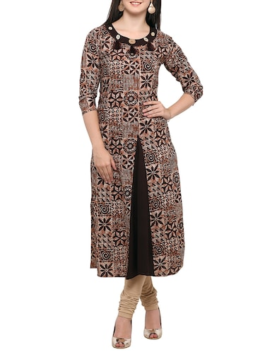 brown cotton flared kurta - 14319202 - Standard Image - 1