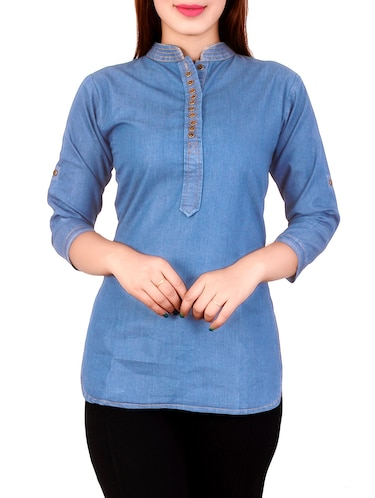 Denim straight kurti - 14358823 - Standard Image - 1