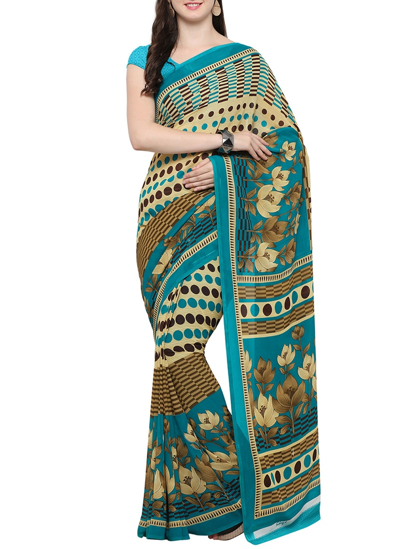 00c51a4b4667e1 Buy Green Printed Saree With Blouse by Swaron - Online shopping for Sarees  in India