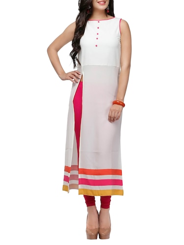 f7390b1ba4f0 Buy White Solid Poly Georgette High Slit Kurta for Women from ...