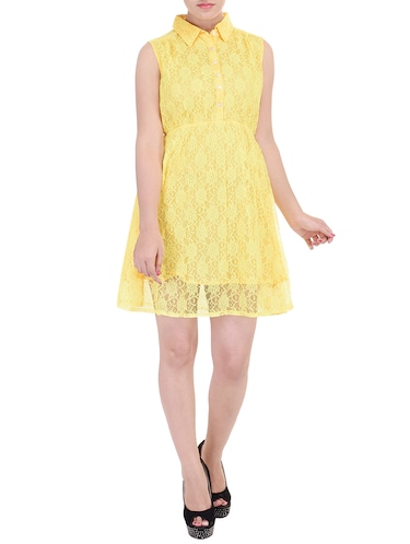 b9969eba30ae Buy Yellow Lace Fit   Flare Dress by Blue Morpho - Online shopping ...