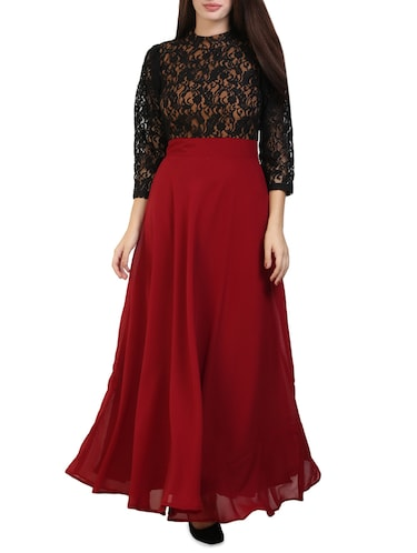 maroon polyester maxi dress - 14394992 - Standard Image - 1