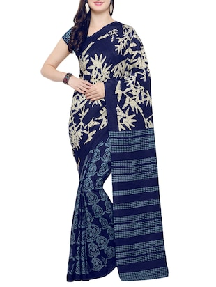 Paisley  tussar silk saree with blouse - 14398626 - Standard Image - 1