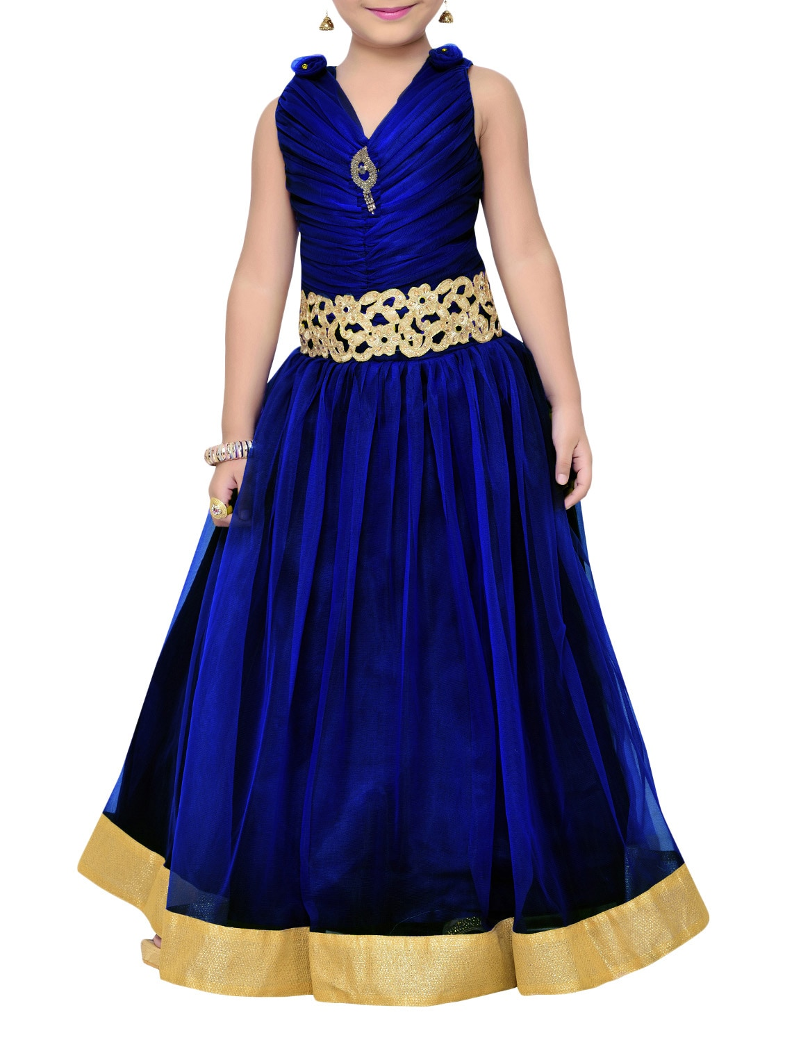 Buy Navy Blue Net Party Gown by Adiva - Online shopping for Party ...