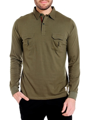 Olive green cotton solid t-shirt - 14413894 - Standard Image - 1