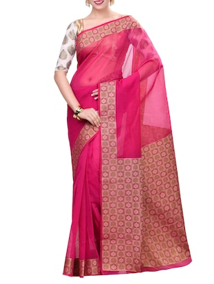 pink saree with blouse - 14414438 - Standard Image - 1