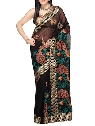 black  saree with blouse - 14414485 - Standard Image - 1