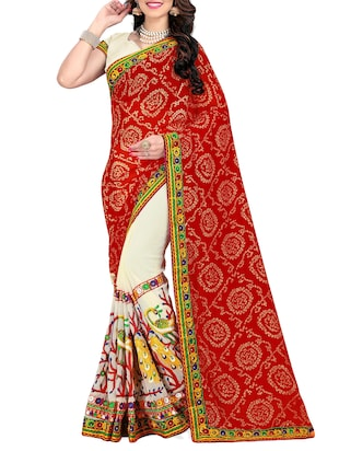 red and white half & half saree with blouse - 14416386 - Standard Image - 1