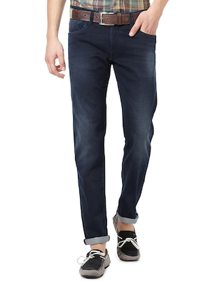navy blue cotton washed jeans - 14419385 - Standard Image - 1