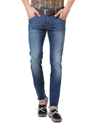 blue cotton plain jeans - 14419391 - Standard Image - 1