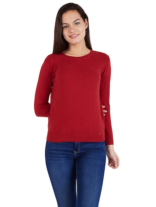 Maroon knitted top - 14419976 - Standard Image - 1