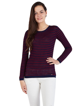 navy blue knitted top - 14419978 - Standard Image - 1