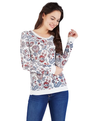 white viscose printed top - 14419980 - Standard Image - 1