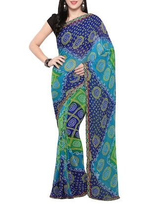 blue georgette bandhani saree with blouse - 14420546 - Standard Image - 1