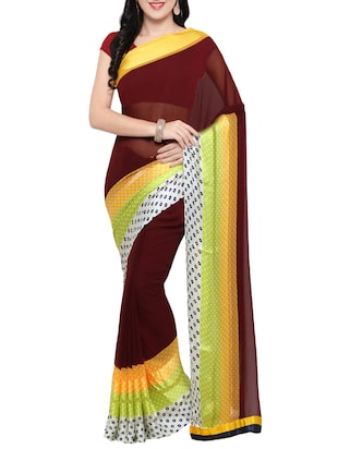 brown georgette printed saree with blouse - 14420559 - Standard Image - 1