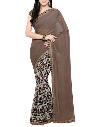 brown georgette printed saree with blouse - 14420569 - Standard Image - 1