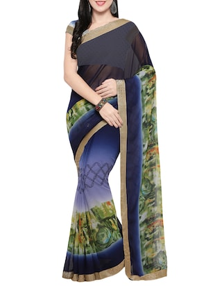 blue georgette printed saree with blouse - 14420573 - Standard Image - 1