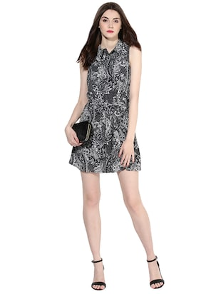 black printed shirt dress - 14422068 - Standard Image - 1