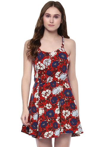 red printed fit and flaredress - 14422243 - Standard Image - 1