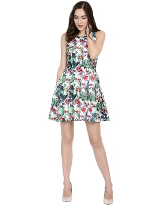 white floral fit & flare dress - 14422291 - Standard Image - 1