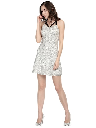 white printed fit & flare dress - 14422300 - Standard Image - 1