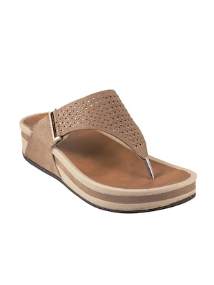 brown open thong wedge - 14422962 - Standard Image - 1