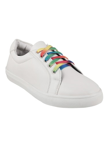 white faux leather laceup sneakers - 14423291 - Standard Image - 1