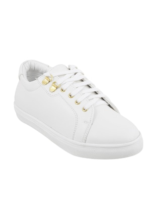 white pu laceup sneakers - 14423297 - Standard Image - 1
