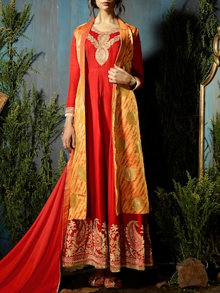 Embroidered flared suit with shurug - 14423470 - Standard Image - 1