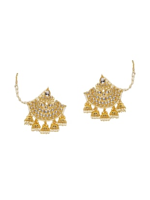 gold metal chandballi earrings - 14424193 - Standard Image - 1