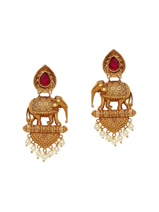 gold metal drop earrings - 14424327 - Standard Image - 1