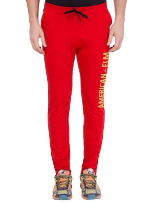 red cotton track pant - 14424831 - Standard Image - 1