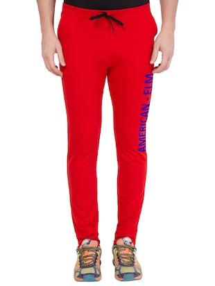 red cotton track pant - 14424832 - Standard Image - 1